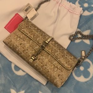 Coach gold shimmer crossbody with silver hardware
